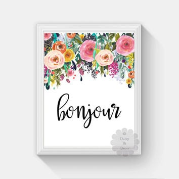 bonjour hello french saying printable wall art nursery playroom print home decor poster watercolor floral wall art print art quote