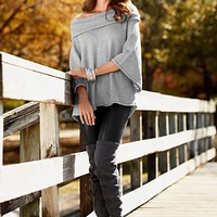 Light Heather Grey Relaxed cowl sweater from VENUS