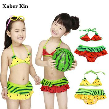 Xaber Kin Swimsuit Girls Two-Pieces Swimwear Split Bikini Baby Children Swimwear Girls Bikini Kids Swimming Suit K505-R