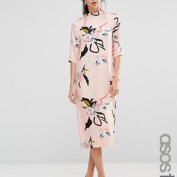 ASOS Tall | ASOS TALL Contemporary Floral Print High Neck Midi Dress at ASOS