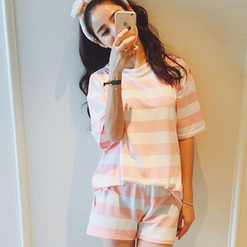 Free shipping Leisure clothes Newest 2016 spring & summer short sleeved women pajamas stripe silk pyjamas lovely 90S sleepwear