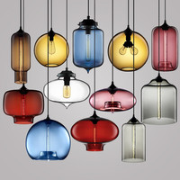 Modern Colorful Pendant Lamps Restaurant Coffee Bedroom Pendant Lights Stained Glass Lamp Light Modern Lighting Pendant Lights