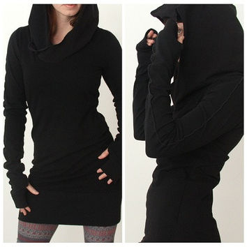 Women Autumn Long Sleeve Pure Color Hooded Hoodies Slim Fit Pullover Sweater Mini Skirt S-XL [10292002695]