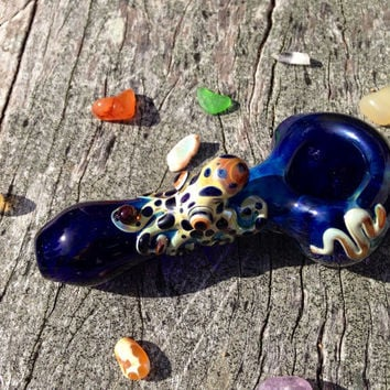 Octopus Critter on Cobalt Blue Glass Pipe