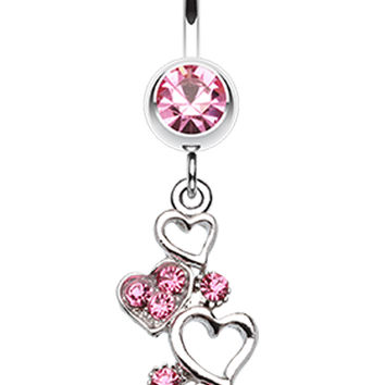 Sparkling Heart Cluster Belly Button Ring