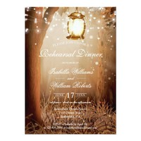 Rustic Country Tree String Lights Rehearsal Dinner Card