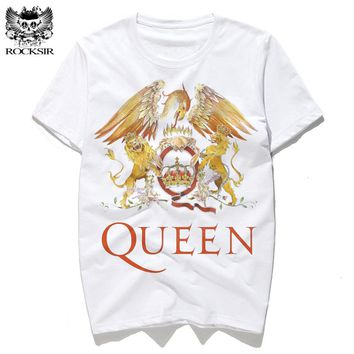 2017 Rocksir New Rock Band QUEEN Printed Men's Tshirt Fashion Harajuku Brand Tops Tee Casual Street Wear Short Sleeve Shirts