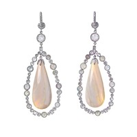 Icy diamond, opal and white gold drop earrings | Nsr Nina Runs...