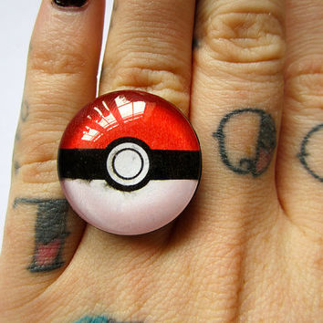 Large Pokeball adjustable ring by missfitclothing on Etsy