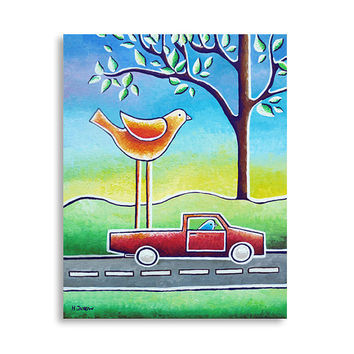 Bird Art Painting, Children wall art, Nursery bird art, Kids wall art, Car art original acrylic painting, Baby boy 11x14