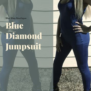 Blue Diamond Fitted Jumpsuit