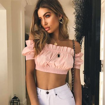 Women Fashion Short Sleeve Off Shoulder Bodycon Ruffle Solid Color Crop Tops