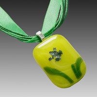 Frog Pendant Necklace, Fused Glass, Green Ribbon
