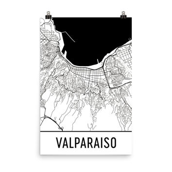 Valparaiso Chile Street Map Poster