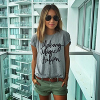 Gray Letter Printed T-Shirt