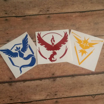 Pokemon Go Decal | Pokemon Go | Pokemon Teams | Team  Instinct | Team Mystic | Team Valor | Pokemon Tream Decals | Vinyl Decals |Nerdy Decal