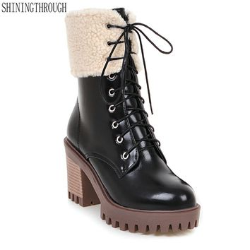 New fashion lace up women boots rouned toe snow boots woman thick high heels shoes woman ladies dress shoes sexy ankle boots