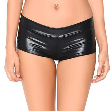Low Waisted Metallic Spandex Rave Shorts