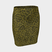 Faux gold and black swirls doodles Fitted Skirt Fitted Skirt