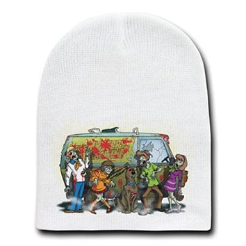 'Scooby Dead Group w/ Smoke' Funny TV Show Parody - White Adult Beanie Skull Cap Hat