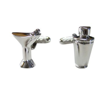 Silver Toned Martini Glass and Cocktail Shaker Cufflinks