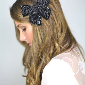 black sparkly bow hair clip, MORE COLORS sequins grosgrain ribbon hair bow clip, bridal comb, vintage look hair clip