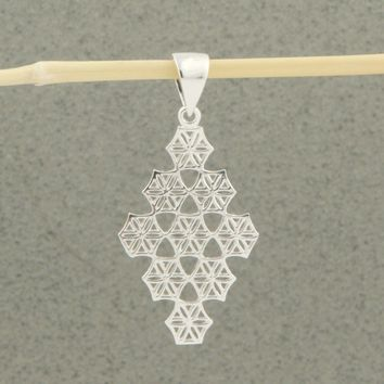 Flower of Life Diamond Pendant, Sterling Silver