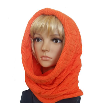 Knit Cowl Scarf for Winter - Orange Women's Hooded Snood