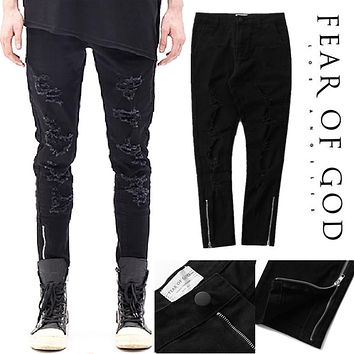 Fear Of God Jeans Men FOG Justin Bieber Kanye West Hip Hop Destroyed Skinny Hole Pants Vintage Ripped Denim Fear Of God Jeans
