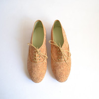 Cork vegan pony oxford shoes (Handmade to order)
