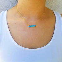 Turquoise Marble Bar Necklace