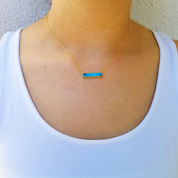 Aqua Marble Bar Necklace