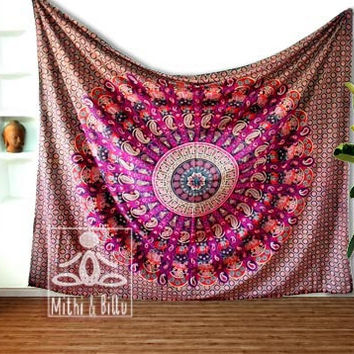 Wall Decor Mandala Tapestry, Queen size, Elephant and Paisley design, Bohemian, Modern, 100% Cotton, Purple color Bedding Gifts for Mom 2049