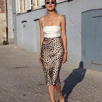 100% Silk Leopard Skirt