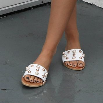 Second Chance White Studded Sandal