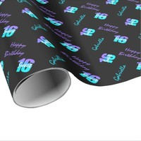 Purple Blue Sweet 16 Personalized Wrapping Paper