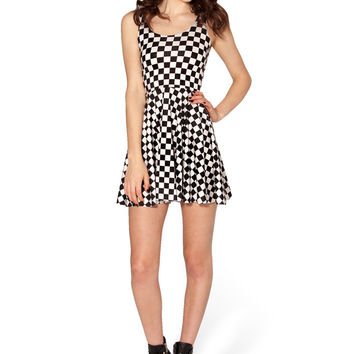 Plaid Print Sleeveless Skater Dress