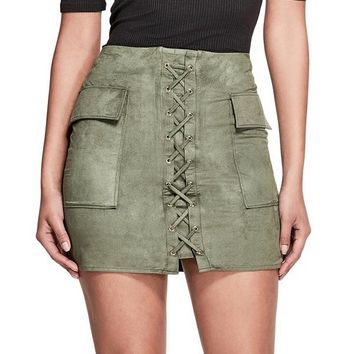 Kelly Lace-Up Mini Skirt at Guess