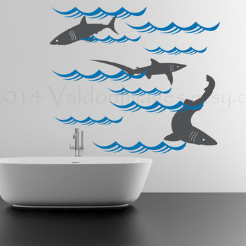 Shark wall decal, wall sticker, decal, wall graphic , vinyl decal for the bathroom or play room