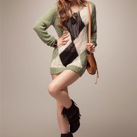 2011 Winter Style Black & Pink & Green V-Neck Long Sleeve Sweather