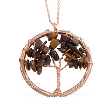 Tigers Eye ION Plated Gold Tree of Life Necklace