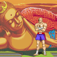 Street Fighter II Sagat stage video game poster