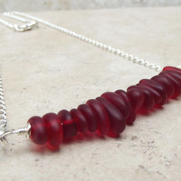 Red Velvet Bar Necklace:  Cherry Red Sea Glass Pebble Necklace, Long Silver Chain Necklace, Modern Beach Wedding Jewelry
