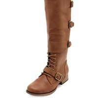 Buckled Lace-Up Combat Boot