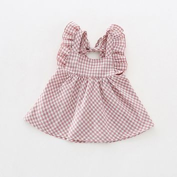 Girl summer sweet little flying sleeves dress baby pink plaid dew pleated cotton