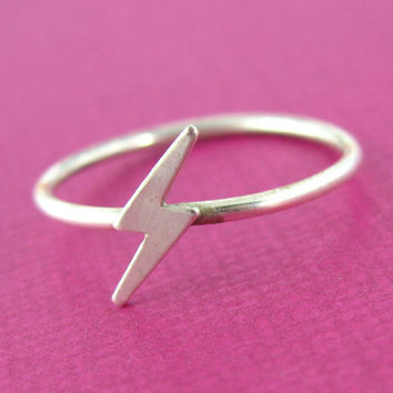 Lightning Bolt Stacking Ring in Sterling Silver - Lightning Bolt Ring