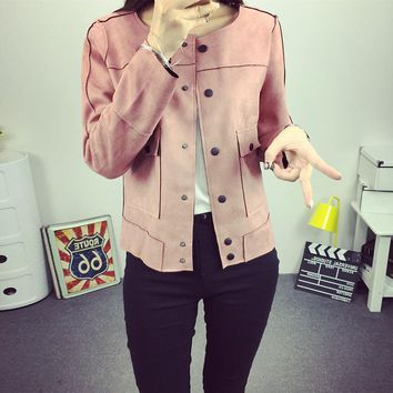 Spring Autumn new women's retro wild coats jackets green army jacket cardigan jacket casual suede jacket