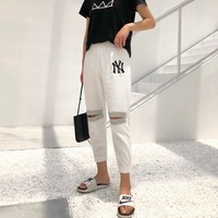 """""""New York x Gucci"""" Women Fashion Hollow Rhinestone Letter Embroidery Leisure Pants Trousers"""