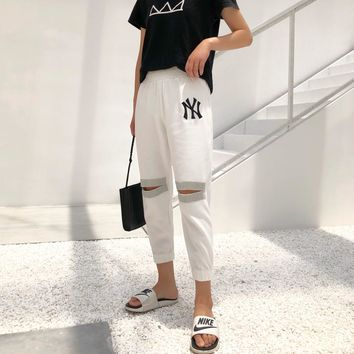 """New York x Gucci"" Women Fashion Hollow Rhinestone Letter Embroidery Leisure Pants Trousers"