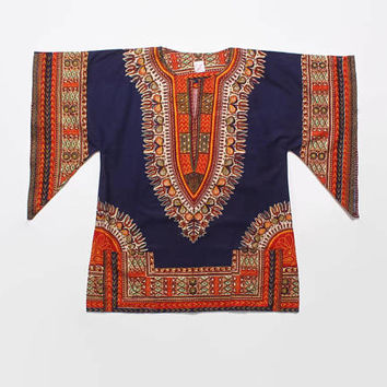 Vintage 70s DASHIKI Shirt / 1970s Deadstock Bright Cotton Ethnic Shirt